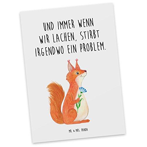 Mr. & Mrs. Panda Geschenkkarte, Grußkarte, Postkarte Eichhörnchen Blume mit Spruch - Farbe Weiß