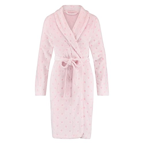 Hunkemöller Damen Fleece-Oberteil, Embossed Dot 117193 Rose XS/S (Fleece Pyjama Dot)