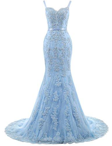 Ballkleider Lang Damen Abendkleider Hochzeitskleider Meerjungfrau Spitze mit Träger Blau EUR34