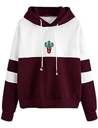 Saingace Women Girls Long Sleeve Cactus Print Hoodies Sweatshirt Jumper Hooded Pullover Tops Blouse