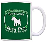 Dog Owner Gift St Patricks Day Schnauzer Irish Pub Sign Gift Coffee Mug Tea Cup Green