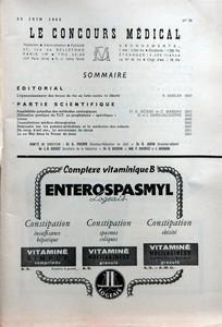 CONCOURS MEDICAL (LE) N? 26 du 25-06-1955 SOMMAIRE - EDITORIAL - L'EPANOUISSEMENT DES FORCES DE VIE EN LUTTE CONTRE LA LIBERTE PAR R AMSLER - PARTIE SCIENTIFIQUE - POSSIBILITES ACTUELLES DES METHODES CYTOLOGIQUES PAR PR A SICARD ET C MARSAN - UTILISATION PRATIQUE DU TIT EN PROPHYLAXIE SPECIFIQUE PAR H ET J SAPIN-JALOUSTRE - LIVRES - CONSULTATIONS MEDICO-CHIRURGICALES - SEMINAIRE SUR LES GAMMAGLOBULINES ET LA MEDECINE DES ENFANTS - UN COUP D'OEIL SUR LE MECANISME DU SHOCK - LU EN MAI DANS LA P...