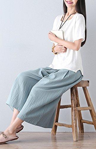 ONECHANCE Frauen Casual Leinen Wide Bein Hosen Hosen mit elastischen Taille Blau