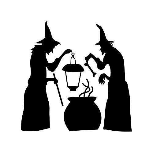 , Motiv: 2 Hexen und Kessel - 57,1 x 57,1 cm - Gruselige Halloween-Dekoration, Aufkleber - Trendige Kinder Teenager Erwachsene Innen Außen Wand Fenster Wohnzimmer Büro Decor ()