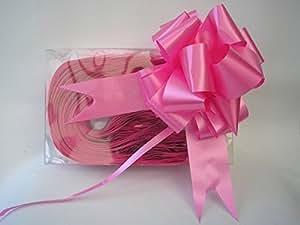 Fiocco da tirare rapido di raso rosa acceso ciliegia 31mm 10cm quando aperto per decorazioni composizioni floreali auto matrimonio cestini hobby x30