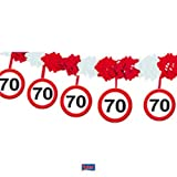 Folat-70th Birthday Traffic Sign Garland with Hangers Guirlande, 5237, Multicolore