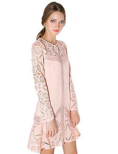 PU&PU Robe Aux femmes Ample Street Chic,Couleur Pleine Col Arrondi Au dessus du genou Polyester PINK-L