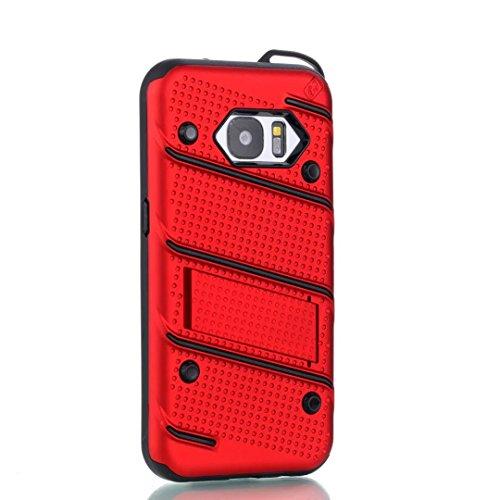 EKINHUI Case Cover Ultra Thin Slim Dual Layer PC + Soft TPU Back Schutzhülle Case [Shockproof] mit Kickstand für Samsung Galaxy S7 ( Color : Silver ) Red