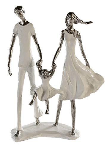 Casablanca - Skulptur Family - aus Poly weiß-Silber weiße Basis H 31 cm