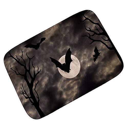 gmatte Türmatte Flanell Polyester Material Rutschfester Waschbarer Sauberlaufmatte Home Decoration Kunkka-03, Horror Late Night Bat, 40X60CM ()
