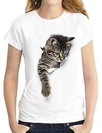 Camisetas Manga Corta Mujer Oversize Camiseta Estampadas Gato Anchas Mujer Cuello Redondo Top Verano Camisas de
