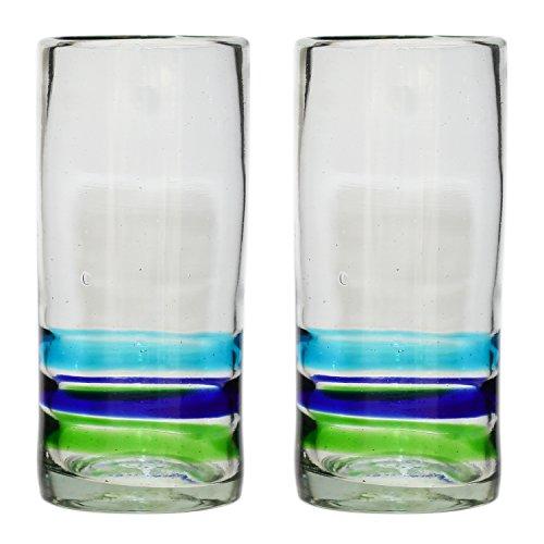 Handgemachtes Hi-Ball Glas - recyceltes Glas - 3-farbiger Ring - Set aus 2 Gläsern Hi-ball Glas Set