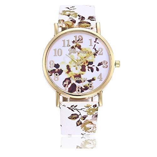 ( jieGREAT Räumungsverkauf  , Blumenmuster Lederband Analog Quarz Vogue Armbanduhren YE)
