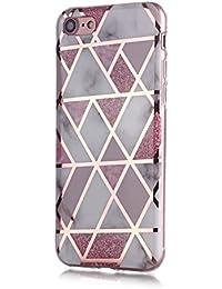 Fatcatparadise Funda para iPhone 6S/6 [con Protector Pantalla], Carcasa Silicona Mármol Protector TPU Suave Anti-Choque Ultra-Delgado Funda para Apple iPhone 6S/6 (4,7 Pulgadas)(Rosado)