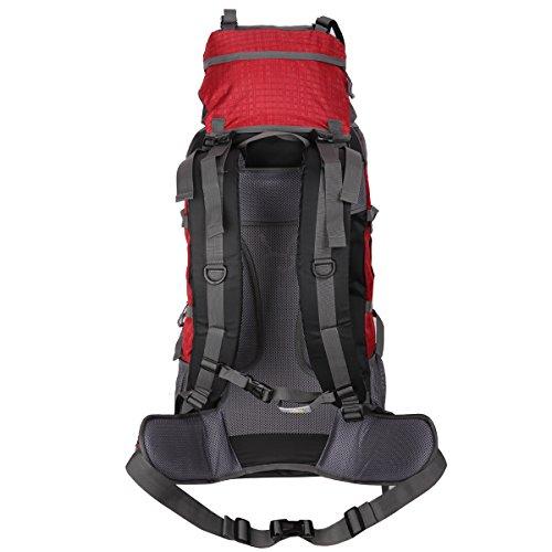 HWJIANFENG Zaini 75+5L Sportivi Unisex in Nylon Poliestere da Trekking Borse per Outdoor Campeggio Escursionismo Viaggi Rosso