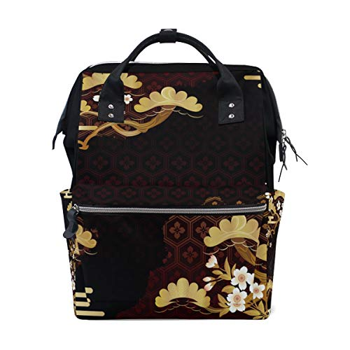 Rucksack mit japanischem Kirschblütenmuster, große Kapazität, für Mütter, Laptop, Handtasche, Freizeit, Reiserucksack für Damen, Herren, Erwachsene, Teenager, Kinder