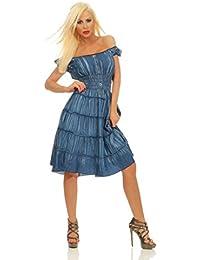 Fashion4Young 5204 Damen Bandeau Kleid Knielang Sommerkleid Carmenstyle Gesmokt u. Stufenrock Midikleid