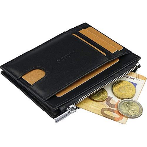 Kleiner Geldbeutel Männer mit Ausweisfach - RFID Blocking Wallet, Platz für 7 Scheckkarten, Geldbörse Herren aus echtem Leder, ideales Slim Wallet Herren - Schwarz Leather Slim Wallet