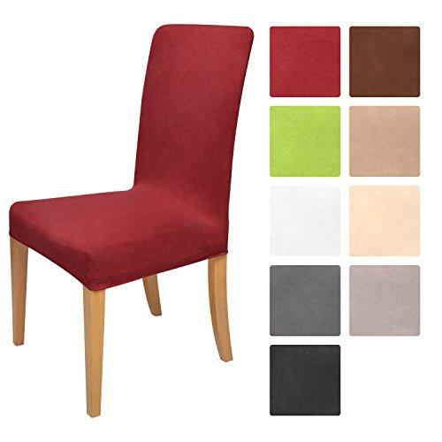 Beautissu Housse strech Mia pour chaise - 45x45cm - Elegante moderne - Coton - Bi-Elastique - OEKO-TEX - Rouge foncé