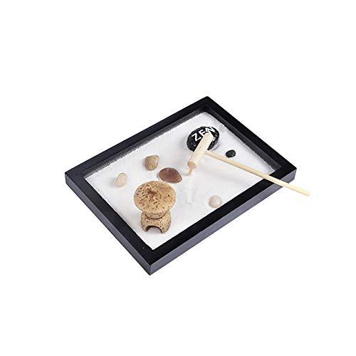 Surenhap Giardino Zen con Artigianato Decorativo da Tavolo di Roccia e Ponte in Sabbia con rastrello per uffici a casa