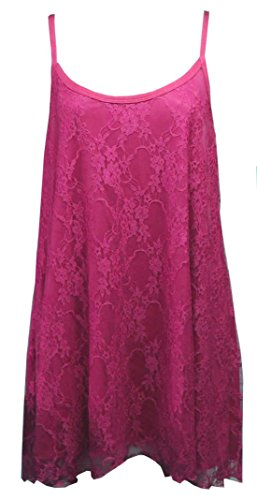 Flirty Wardrobe Débardeur à fines bretelles pour femme Dentelle florale Swing Robe avec taille 12–26 Noir - Fuchsia