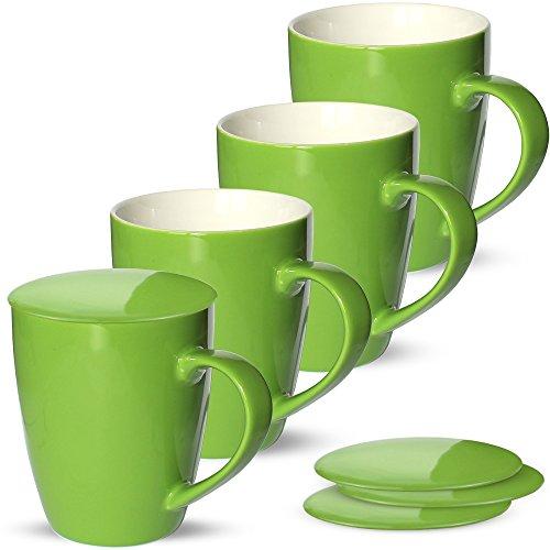matches21 Tassen Becher Kaffeetassen Kaffeebecher Unifarben / einfarbig grün Porzellan 4 Stk. 10 cm...