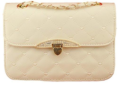 37c567ea4a155 Gesteppte Handtasche Kunstleder Vintage Stil Abend Tasche Herzen Goldkette  Beige