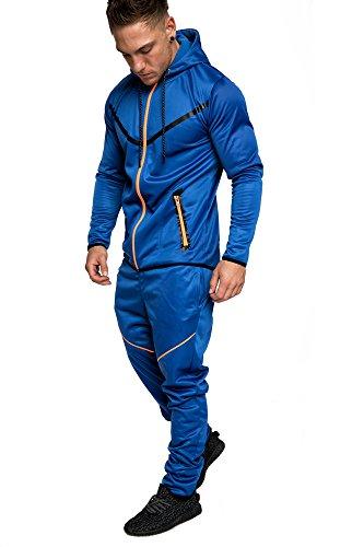 Amaci&Sons Herren Kontrast Sportanzug Jogginganzug Trainingsanzug Sporthose+Hoodie 1017 Royalblau XL