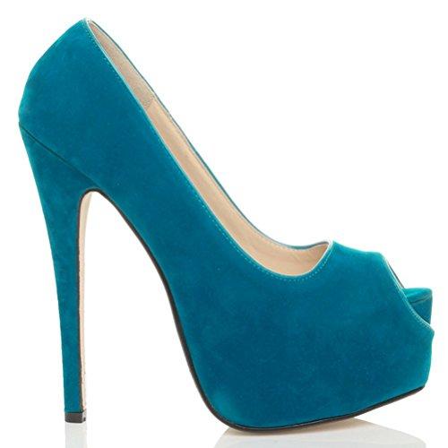 Damen Hoher Absatz Party Peep Toe Pumps Plateauschuhe Sandalen Größe Türkisblau Wildleder