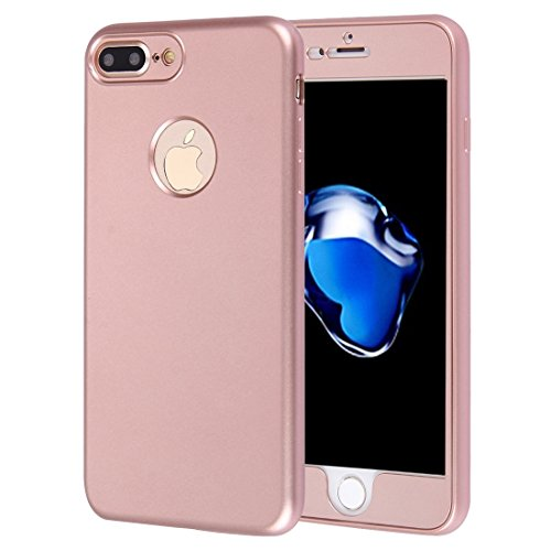ZX Custodia Iphone 7 Plus, copertura posteriore morbida TPU a 360 gradi + copertina anteriore in combinazione ALTA QUALITA ( Color : Red ) Rose gold