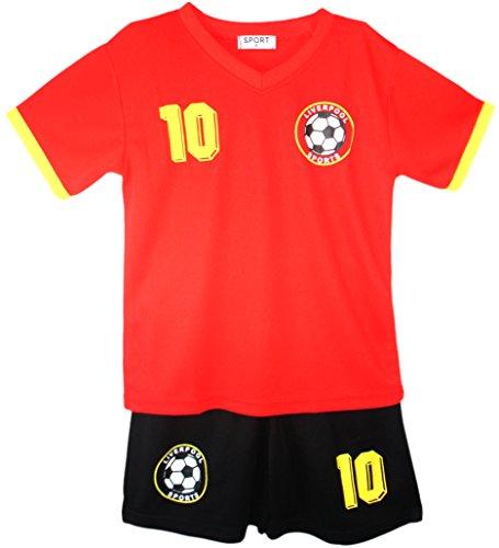 Fußball Trainingsanzug Jungen Top T-Shirt Shorts Kit Set Größe Alter 2-12 Jahre (6 Kleidung Größe Jungen)