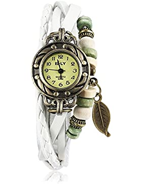 iWatch Damen Armbanduhr Retro Baum Blatt Leder Armkette Armband Analog Quarz Uhr Watches Weiß
