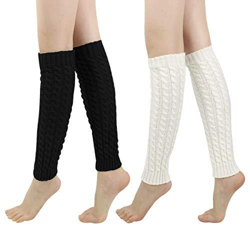 (LADES DIRERCT Damen Stulpen - Stricken Beinstulpen Socken Mit Fersenloch Gestrickt Beinwärmer Ballett Yoga Stulpen Legwarmer Strümpfe 1980er Jahre Party Kleid (Schwarz+Weiß 1))