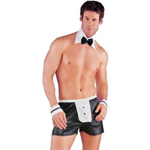 Sexy Herren Kostüm - sexy herren kellner outfit 4 stück set kostüm - Schwarz Weiß, One Size