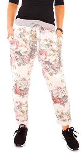 Damen Jersey Sweathose Lang Relax Home Hose Jogger Style Lounge Jogginghose Rippbund Bunt Geblümt Gemustert Blumen-Muster One Size Creme-Grau-Rosé
