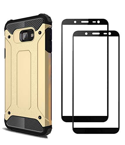 FANFO® Samsung Galaxy J4 core Hülle + [2 Stück] Gehärtetem Glass, TPU + PC-Kombination Langlebig Schutzhülle + 9H Härte Bildschirmschutzfolie Folie für Samsung Galaxy J4 core, Gold