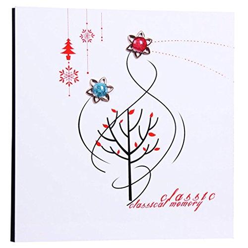 FOOHAO- Albums photo avec des pages collantes, couverture en bois, 20 pages (40 Surface), album de famille Creative Family (Couleur : White card)