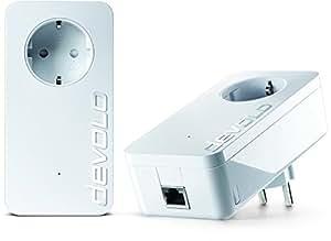 devolo dLAN 1200+ Starter Kit Powerline (1200 Mbit/s Internet über die Steckdose, 1x LAN Port, 1x Powerlan Adapter, integrierte Steckdose, PLC Netzwerkadapter) weiß