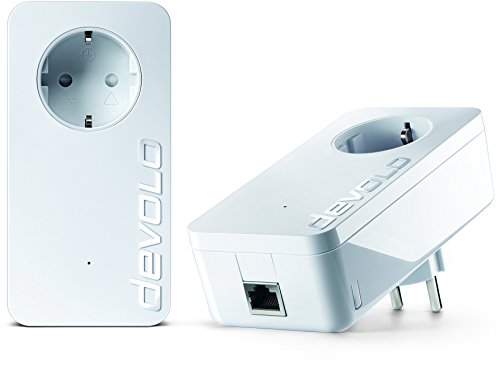 devolo dLAN 1200+ Starter Kit Powerline (1200 Mbit/s Internet über die Steckdose, 1x LAN Port, 1x Powerlan Adapter, integrierte Steckdose, PLC Netzwerkadapter) weiß