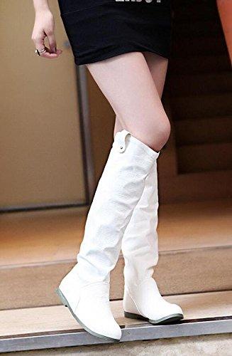 Frühling Herbst Hohe Stiefel Ritter Stiefel Flache Stiefel Weiß