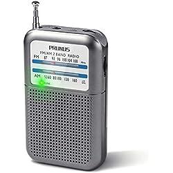 PRUNUS DEGEN-DE333 Mini Transistor Radio Portable de Poche Petite FM/AM(MW), Excellente Réception, Bouton de Réglage avec Indicateur de Signal. Compatible avec Piles Amovibles (AAA)