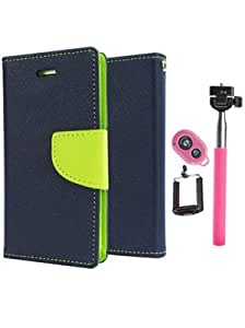 Aart Fancy Diary Card Wallet Flip Case Back Cover For HTC516 - (Blue) +Remote Aux Wired Fashionable Selfie Stick Compatible for all Mobiles Phones By Aart Store