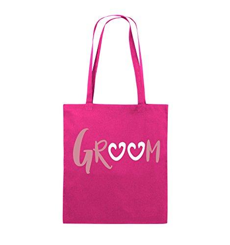Comedy Bags - GROOM - HERZEN - Jutebeutel - lange Henkel - 38x42cm - Farbe: Schwarz / Weiss-Neongrün Pink / Rosa-Weiss