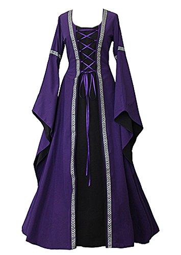 Outgobuy Damen Mittelalter Renaissance Front Lace Up Vintage Stil Gothic Kleid Retro Kleid Cosplay Kostüm (XXL, (Kleid Renaissance Lila)