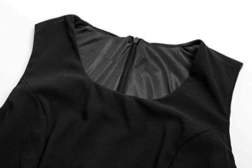 Angerella Sans Manches Mousseline Robes Col Rond Robes Avec Ceinture Noir