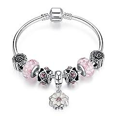 Idea Regalo - Charm braccialetto per donne, rosa in vetro di Murano, fiore ciondolo catena placcata in argento, regalo di Natale, 19 centimetre(7.48