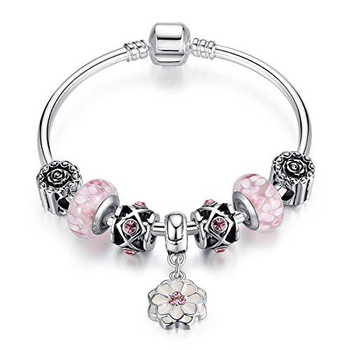 Charm braccialetto per donne, rosa in vetro di Murano, fiore ciondolo catena placcata in argento, regalo di Natale, 19 centimetre(7.48')