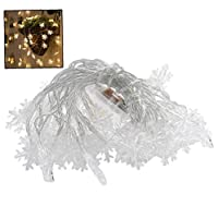 Bongles Christmas Twinkle Snowflake Led Window Curtain String Light Wedding Party Home Garden Bedroom Outdoor Indoor Wall Decorations (600cm 40 Lights)