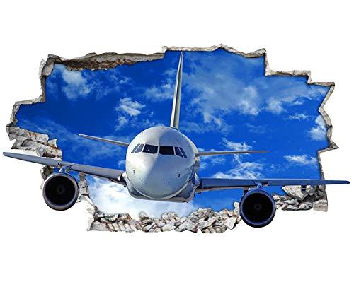 tekkdesigns H001Flugzeug Flugzeug Jet zerstörten Wand Aufkleber 3D Poster Art Aufkleber Vinyl Raum (3d Flugzeug)