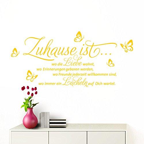 Grandora Wandtattoo Zuhause ist I gelb (BxH) 100 x 53 cm I Schmetterlinge Wohnzimmer Spruch Aufkleber selbstklebend Wandaufkleber Wandsticker W1133